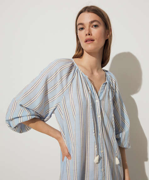 Blue stripe cotton and linen tunic