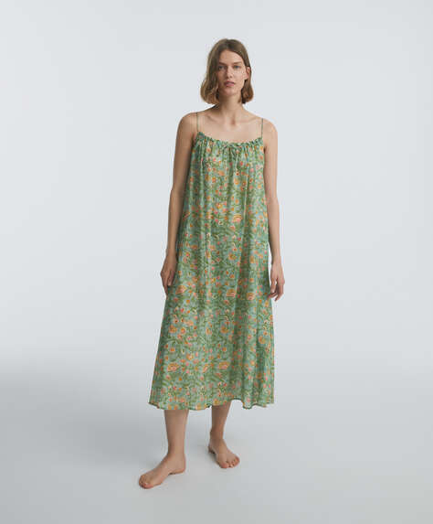 Long green floral 100% cotton nightdress
