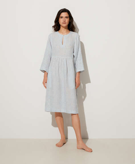Blue stripe 100% linen nightdress