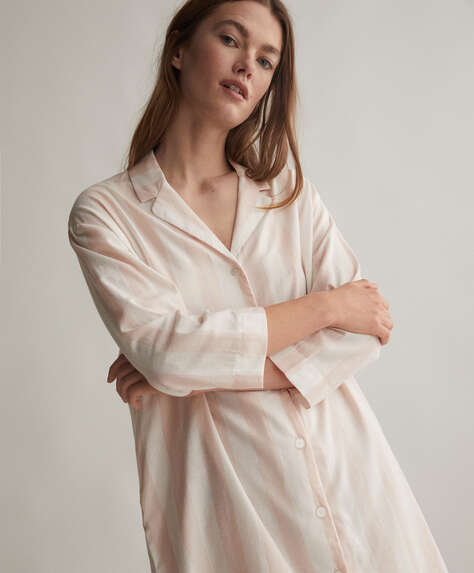 Pink stripe 100% cotton nightdress