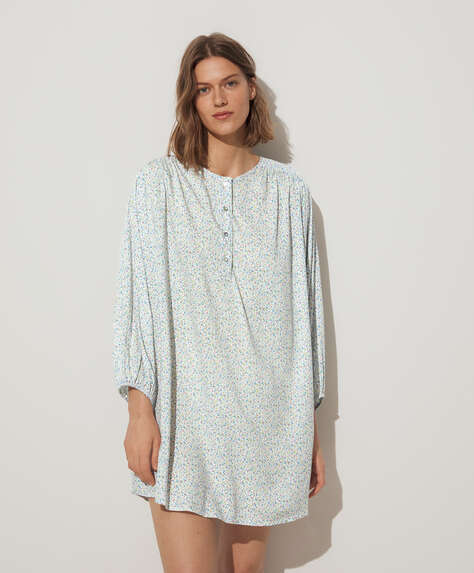 Blue ditsy floral nightdress