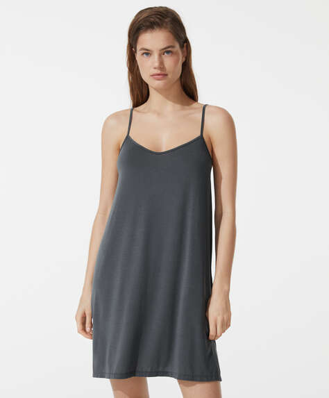 Plain modal strappy nightdress
