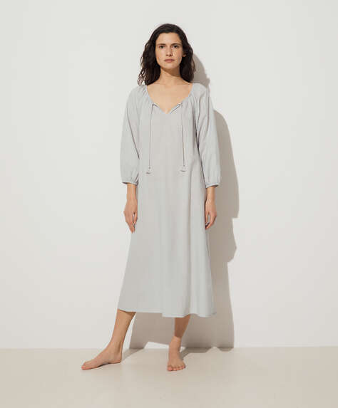 Grey 100% cotton plumeti tunic