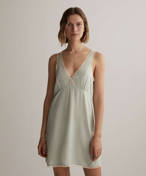 Short lace trim camisole nightdress
