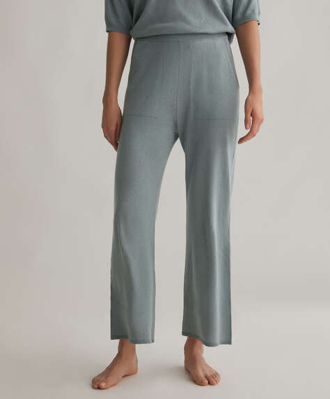 Flare knitted cotton and silk trousers