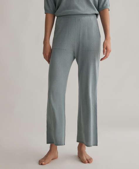 Pantalon flare en maille coton et soie