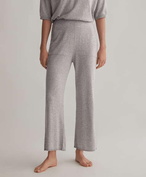 Pantalons flare de punt, cotó i seda