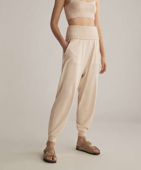 Knitted cotton and silk harem trousers