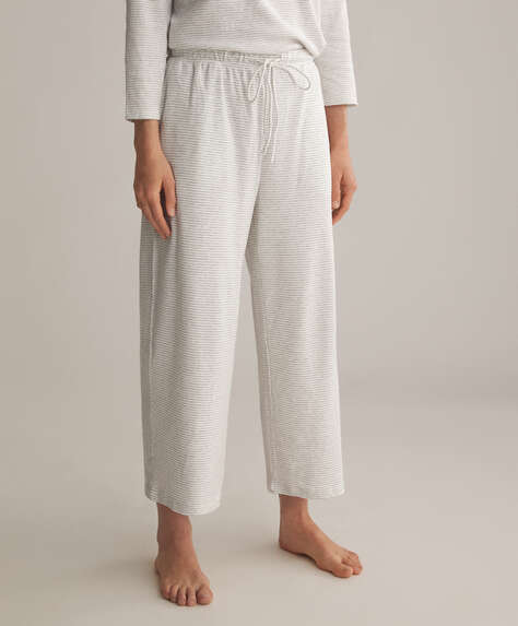 Fine stripe organic cotton culottes