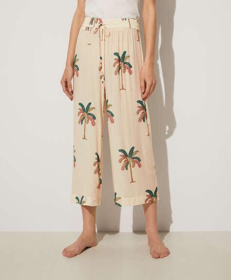 Pantalón culotte palmeras