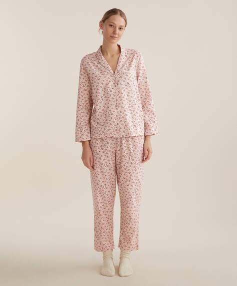 Pantalon 100% coton à petites fleurs rouges