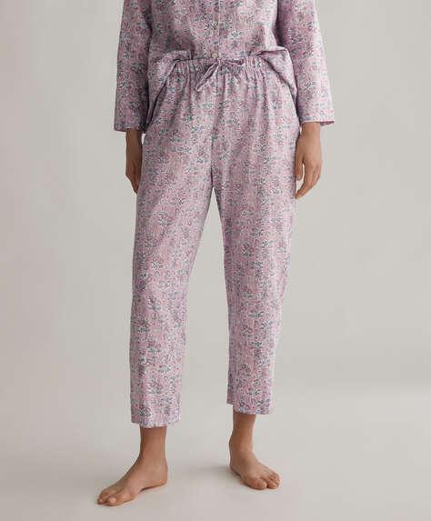 Mauve floral 100% cotton trousers