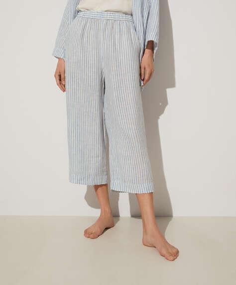 Blue stripe 100% linen culotte
