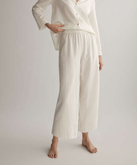 White 100% cotton trousers
