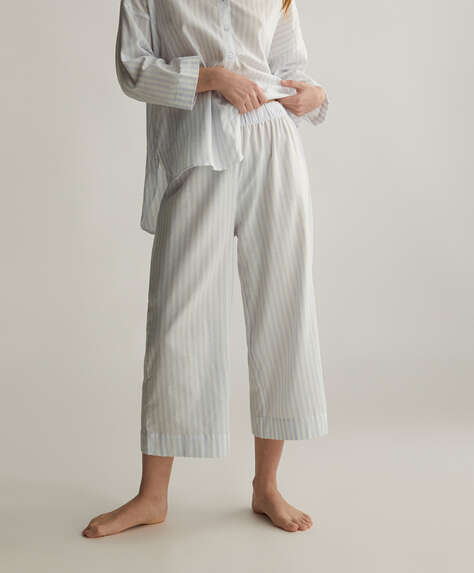 Blue stripe 100% cotton trousers