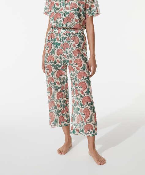 Calças culotte 100% algodão com padrão de cravos