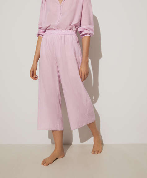 Mauve 100% cotton culotte