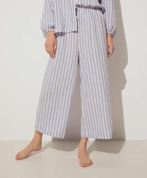 Calças culotte 100% algodão às riscas