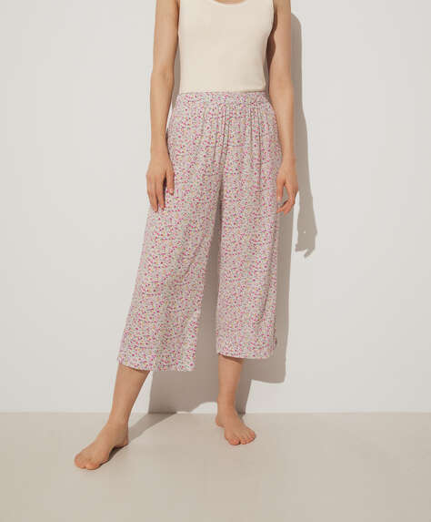 Pink ditsy floral culottes