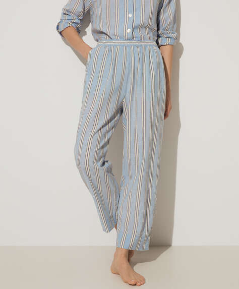 Blue stripe cotton and linen trousers