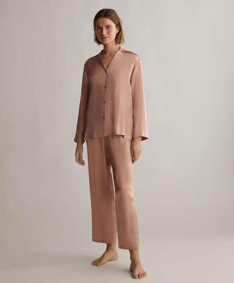 Pantalón 100% seda rosa