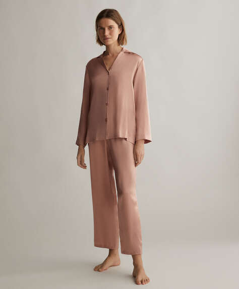 Pink 100% silk trousers