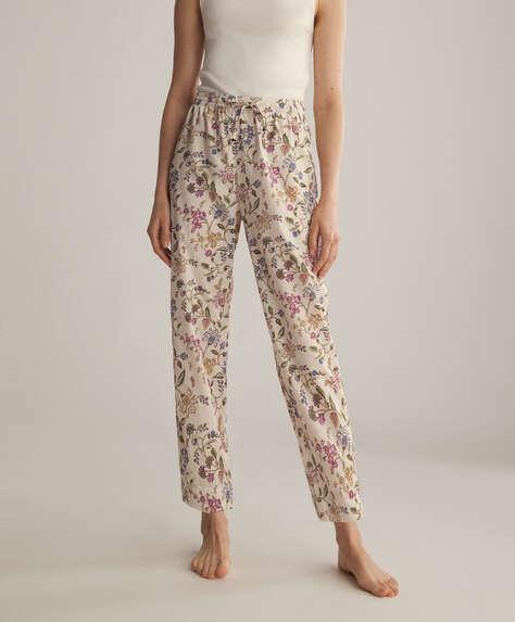 Ecru boho flower 100% cotton trousers