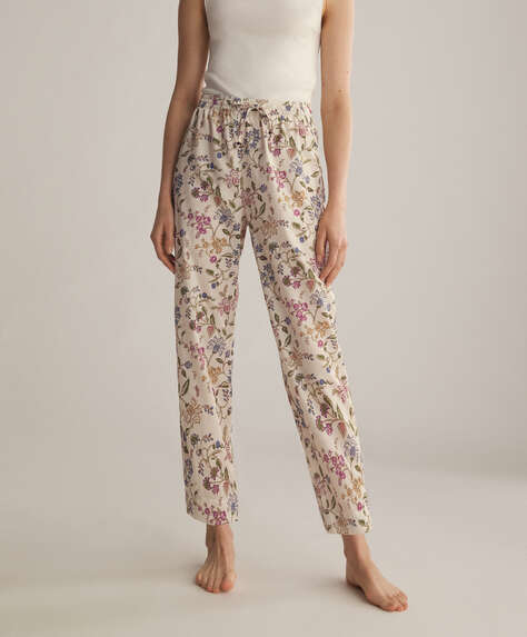 Ecru boho flower 100% cotton trousers