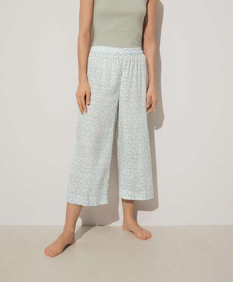 Pantalón culotte florecitas azul