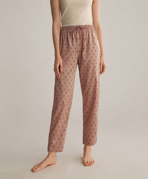 Stamp pink 100% cotton trousers