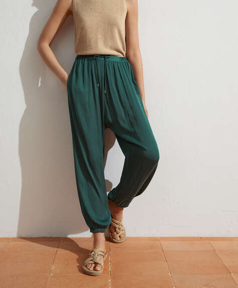 Satin harem trousers