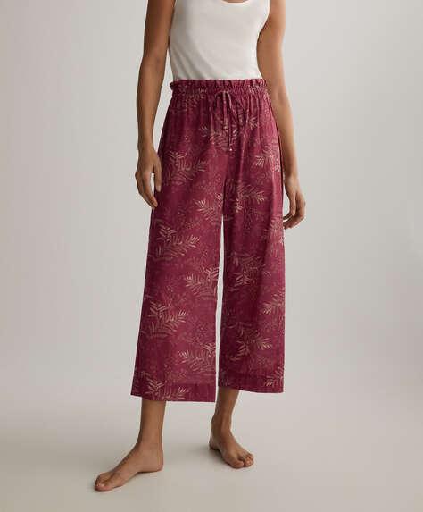 Pantalon culotte 100% coton chevronné