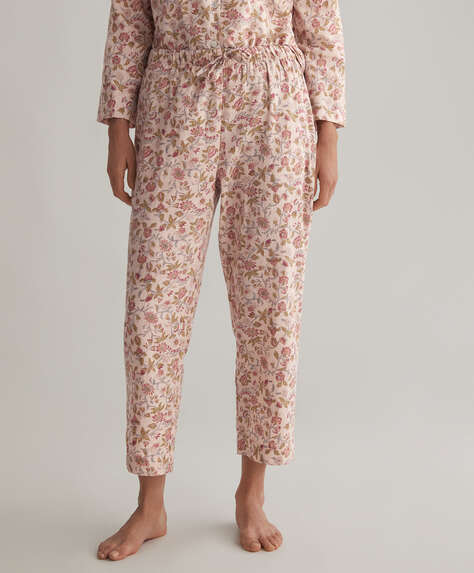 Pink floral 100% cotton trousers