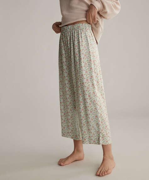 Pantaloni culotte a fiori