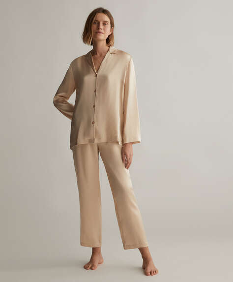 Plain 100% silk trousers