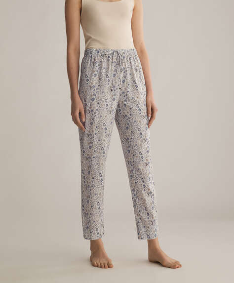 Blue 100% cotton ditsy floral trousers