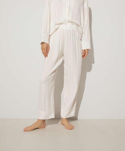 White jacquard trousers