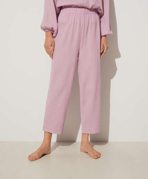 Mauve 100% cotton trousers