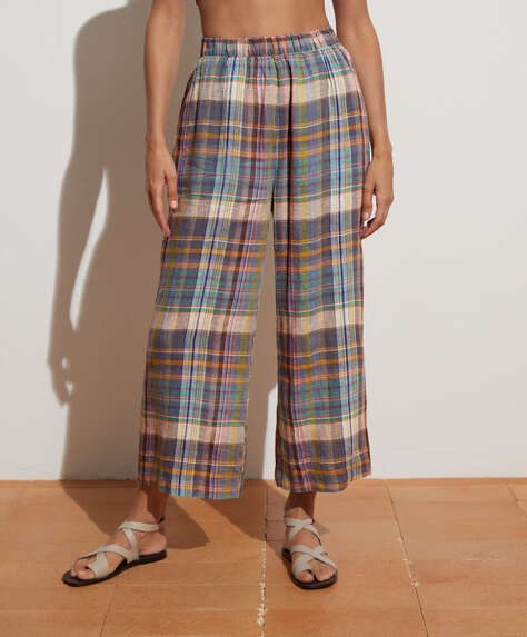 Checked 100% linen culotte
