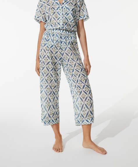 Pantalón culotte 100% algodón flores