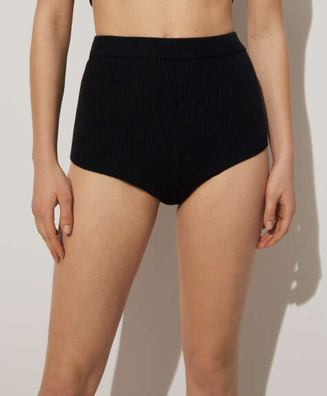 High-rise fine knit briefs