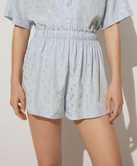 Blue polka dot jacquard shorts