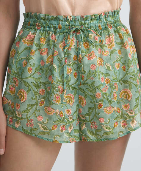 Green floral 100% cotton shorts