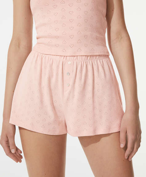 100% cotton cutwork shorts