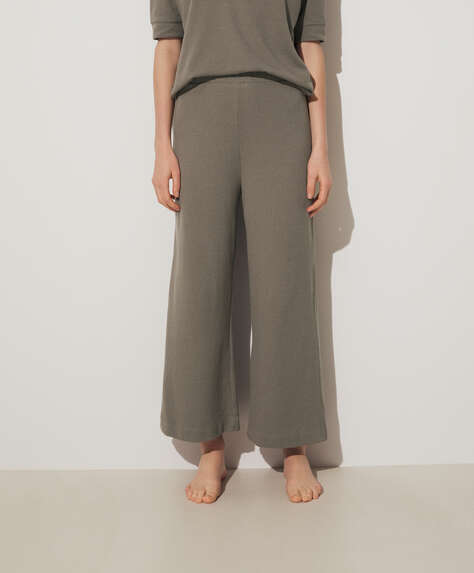 Wide-leg terry trousers