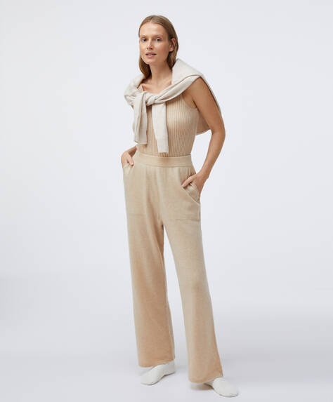 100% cashmere wide-leg trousers