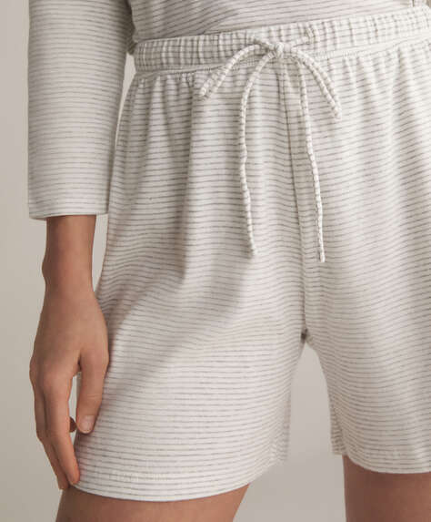Fine stripe grey organic cotton Bermuda shorts