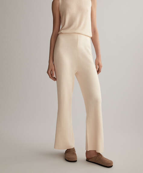 Flare knitted cotton and linen trousers