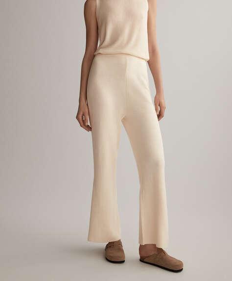 Pantalón flare de punto, algodón y lino