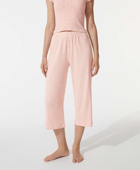 Calças culotte 100% algodão com perfurações